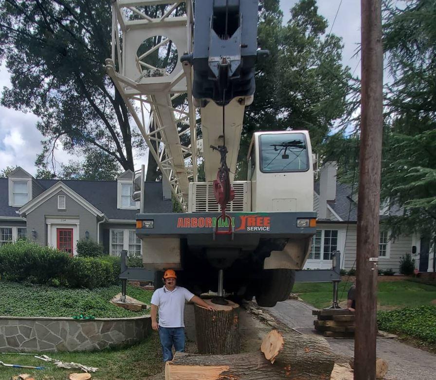 kansas city tree services crane setup-1